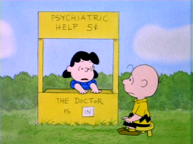 Lucy psychiatric help booth 5 cents Charlie Brown